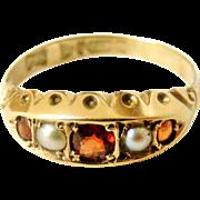 Edwardian 9k gold pearl and garnet gypsy ring