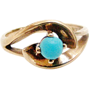 Vintage art deco 9k gold and turquoise ring