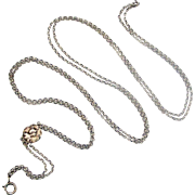 Antique art nouveau sterling silver muff chain with lady slide