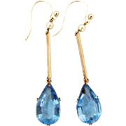Elegant Edwardian drop earrings in 9k gold with faceted sky blue paste