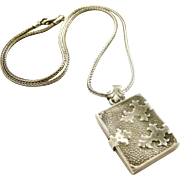 Fabulous and mysterious French 800 silver book locket and chain