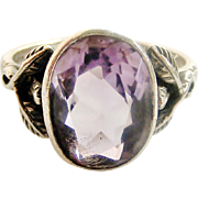 English arts and crafts sterling silver and amethyst ring.