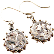 Victorian sterling silver fronted drop earrings