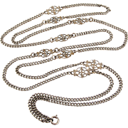 Antique French silver plated lorgnette chain