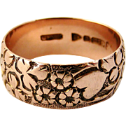 English Antique 9k rose gold Edwardian carved wedding band, hearts and flowers.