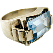 SOLD Stunning French silver and synthetic blue zircon art deco tank ring.