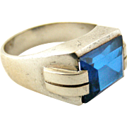 SALE PENDING Art Deco French silver tank ring set with synthetic sapphire