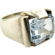 Art deco French silver and synthetic aquamarine tank ring