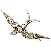 Victorian sterling silver and paste swallow brooch.