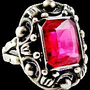 Antique arts and crafts jugendstil 835 silver and ruby paste cocktail ring