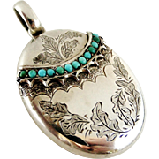 Fabulous Victorian sterling silver Persian turquoise locket with oak leaf engraving