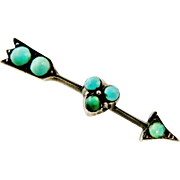 Antique European turquoise and sterling silver arrow and heart brooch pin.