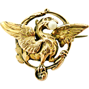 Antique French art nouveau chimera or griffin brooch