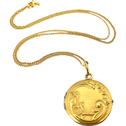 French antique art nouveau Oria gold filled locket and chain