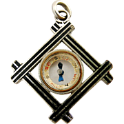 Antique French enamelled compass watch chain fob