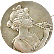 Rare French art nouveau silver brooch of Euterpe muse of Lyric poetry