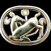 Vintage sterling silver Georg Jensen kneeling deer brooch