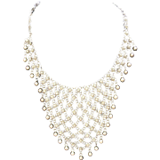 Fabulous sterling silver canetille filigree bib necklace