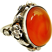 Lovely vintage sterling silver and Carnelian arts and crafts ring , wild rose design.