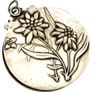 French antique art nouveau silver plated slide mirror locket
