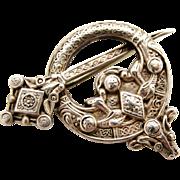 Antique Irish Tara celtic brooch sterling silver