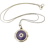 French art deco guilloche enamel locket and sterling snake chain
