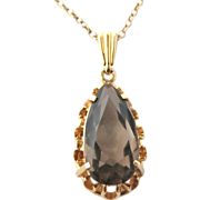 REDUCED Vintage 1970s 9k gold and smoky quartz pendant and chain