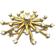"SALE Beautiful 14kt Yellow Gold Mid Century ""Starburst"" Diamond Brooch"