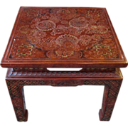 SALE John Widdicomb Mid Century Carved and Painted Chinese End Table