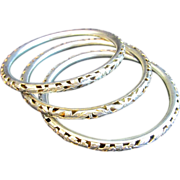 SALE Early 20th Century Set of Three Silver Bangles with Floral Cut Out Design
