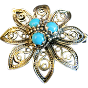 SALE Art Nouveau 14K Yellow Gold and Persian Turquoise Filigree Brooch