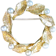 SALE 14K Gold Leaf and Seed Pearl Pin