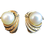 SALE 14K Gold and Pearl Vintage Clip-On Stud Earrings
