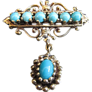 SALE Antique Art Nouveau 14K Gold Brooch with Persian Turquoise