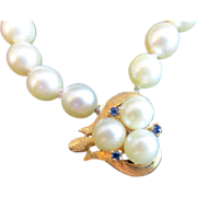 SALE Genuine Antique Pearl Necklace with 14K Gold Pendant and Clasp