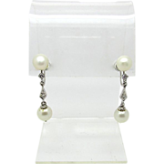 SALE Marvelous Art Deco White Gold Diamond and Pearl Screwback Drop Earrings