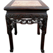 SALE Antique Qing Chinese End Table ~ Marble Inlay