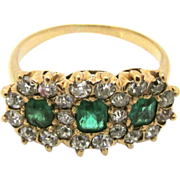 SALE Late Victorian Antique 14kt Gold Emerald and Diamond Ring