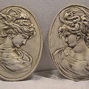 REDUCED Vintage Art Nouveau Cast Iron Wind Maiden Plaques