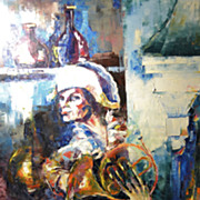 REDUCED Vintage Contemporary Impressionist Oil Painting Entitled French Horn  Signed