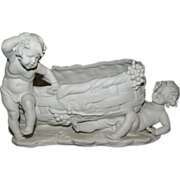 REDUCED Magnificent Large Antique Victorian Parian Cherub / Putti Wine Theme Figural Jardiniè