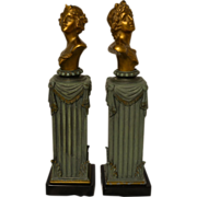 SOLD Wonderful Antique Set of Art Nouveau Cast Bronzed Busts of Diana & Apollo by F. Iffland C