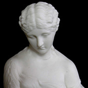 REDUCED Fine Antique English Parian Bisque Porcelain Bust of Clytie C. 1870