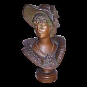 """REDUCED Excellent Victorian Art Nouveau Bronzed Metal Bust of 'KAREN"""" by M. Dutrion C. 18"""