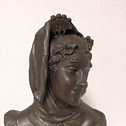 SOLD Superb Antique French Art Nouveau Maiden Bust by Henri Levasseur C. 1880-1900 - Red Tag S