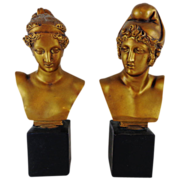 SOLD Superb Vintage Set of Plaster / Chalkware Busts of Greek God and Goddess Apollo and Diana