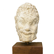 REDUCED Fine Vintage Plaster Bust of Mythological Satyr on Wooden Base