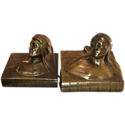 REDUCED Beautiful Vintage Set of Bronze Bookends of Dante and Beatrice by Jennings Brothers C.