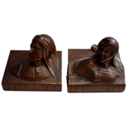 REDUCED Beautiful Vintage Dark Bronze Set of Dante & Beatrice Bookends C. 1900-1930