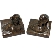 REDUCED Mint Vintage Set of Dante & Beatrice Deep Chocolate Bronzed Bookends by Jennings Broth
